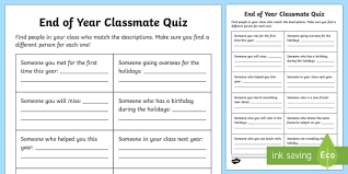 how to find a classmate end of year classmate quiz worksheet activity sheet end of