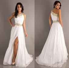 2015 new arrival long white prom party dresses one shoulder