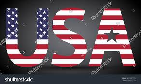 American Flag In Text Text Usa Filled American Flag Stock Vektorgrafik 315977336