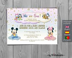 baby mickey invitations baby disney baby shower invitation gender reveal mickey
