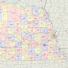 Map Of Counties In Nebraska Nebraska Counties Wall Map Maps Com