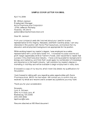 example cover letter email cover letter email format template