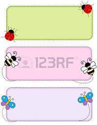 colorful kids tags labels cute animal faces corners