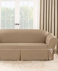 T Cushion Sofa Slipcover by Sure Fit Cotton Canvas One Piece T Cushion Sofa Slipcover