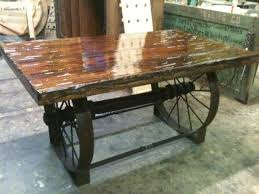 Wagon Wheel Coffee Table Custom Wrought Iron Table Base W Customer Provided Covered Wagon