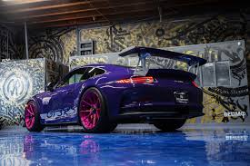 pink porsche interior ultraviolet porsche 911 gt3 rs poses with pink wheels
