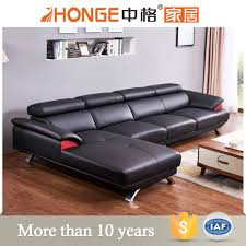 Latest L Shaped Sofa Designs Stainless Steel L Shaped Genuine Leather Latest Living Room Louge
