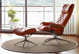 ekornes stressless metro high back leather recliner and ottoman