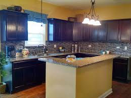 Kitchen Backsplash Dark Cabinets Delighful Kitchen Backsplash Glass Tile Dark Cabinets Backsplashes