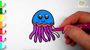 how to draw a jellyfish coloring pages for kids from mr cute