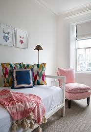 West Elm Day Bed Pink Slipper Chair With Gray Herringbone Rug Transitional Bedroom