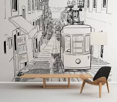 Peel And Stick Wallpaper Reviews by Lisbon Tram Outlines Peel And Stick Wallpaper Moonwallstickers Com