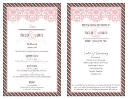 vow renewal program templates ceremony program and menu vow renewal vow renewal