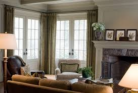 Curtains French With Window Treatments Family Room Traditional And - Family room in french