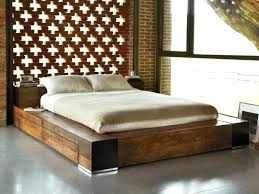 cheap platform bed frame ideas with distressed wood headboard