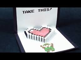 zelda pop up card heart container free template kirigami 3d