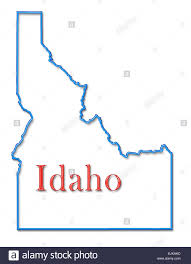 Idaho County Map Idaho Map With Neon Blue Outline And Red Lettering Stock Photo
