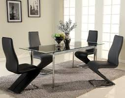 Black Extending Dining Table And Chairs Black Glass Extendable Dining Set With Four Zig Zag Chairs Chtar