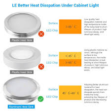 easy to install under cabinet lighting le led under cabinet lighting kit 510lm puck lights 3000k warm