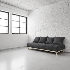 canapé futon canapé 3 places structure naturelle matelas futon senza karup pas
