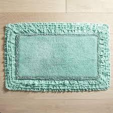 Cotton Bath Rugs Frayed Edge Turquoise Bath Rug
