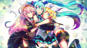 halloween background anime 1920x1080 anime girls megurine luka vocaloid hatsune miku kagamine rin