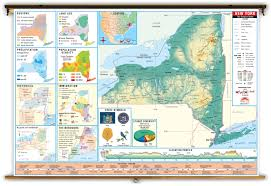 State Map Of New York by New York State Thematic Classroom Map On Spring Roller From Kappa