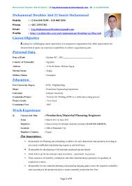 Resume In English Examples by Muhammad Ibrahim Cv
