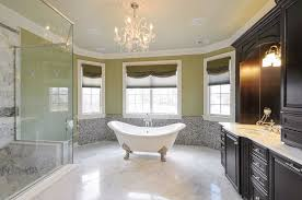 traditional master bathroom with crown molding u0026 high ceiling in