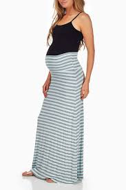 maternity skirt aqua grey striped maternity maxi skirt