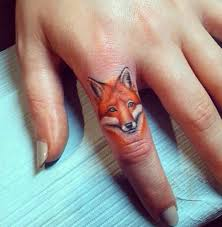 little watercolor fox tattoo on finger real photo pictures