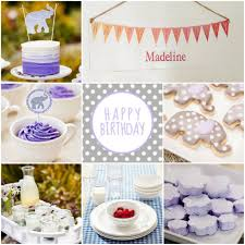 purple tea birthday party rustic baby chic
