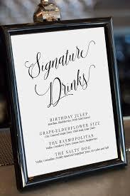 wedding drink menu template editable signature drinks sign drinks menu template wedding