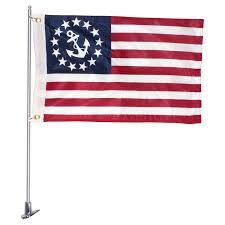 Nautical Code Flags Boat Flag Pole Set