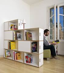 partitions design concept features wooden modular bookcase and