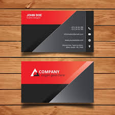 red and black modern business card template vector free download