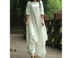 beige loose fitting long maxi dress cotton and linen long doll