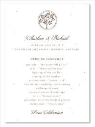 plantable wedding programs on seeded paper shalom tree by