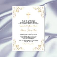 catholic wedding invitations catholic wedding invitation template diy printable gold cross