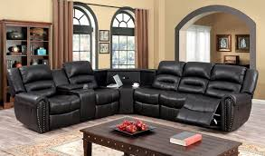 Power Leather Reclining Sofa by Furniture Recliner With Cup Holder For Extra Comfort