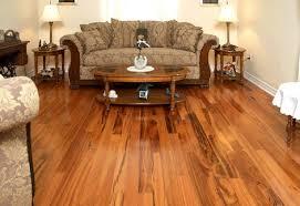 living room with koa tigerwood flooring