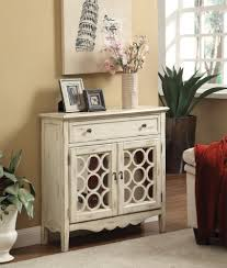 Accent Cabinets Antiqued White Finish Accent Cabinet With Mirror