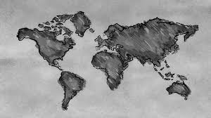 Black World Map by World Map Sketching Looping Animation Black And White 4k