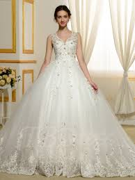 ballgown wedding dresses designer v neck beading appliques lace gown wedding dress