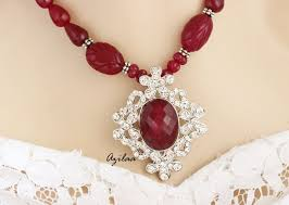 ruby necklace earrings images Designer ruby quartz handmade beaded necklace earrings set at jpg