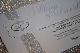wedding invitations glitter 100 silver wedding invitations with beautiful glitter band and