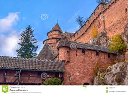 large red brick castle of haut koenigsbourg in alsace france in