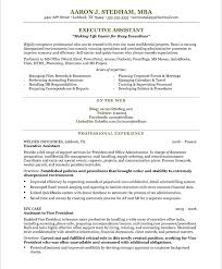 Sample Resume For Back Office Executive by Executive Assistant Resume By Aaron J Stedham Mba Writing