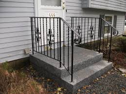 simple outdoor stair railing designs using black wrought iron