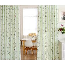 Green Curtains For Nursery Light Green Bird Leaf Polyester Nursery Curtains